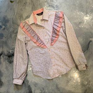 VTG 70s Floral Western Snap Up Long Sleeve Blouse